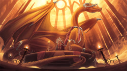 Size: 1600x900 | Tagged: source needed, useless source url, safe, artist:chromamancer, western dragon, color:bronze, fire, solo