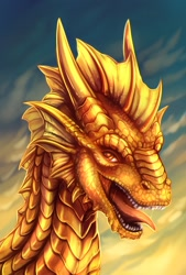 Size: 865x1280 | Tagged: source needed, useless source url, safe, artist:dragonataxia, western dragon, color:bronze, solo