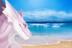 Size: 1500x1000 | Tagged: source needed, useless source url, safe, artist:ivenvorry, western dragon, cloud, color:purple, sea, solo
