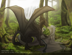 Size: 2000x1531 | Tagged: source needed, useless source url, safe, artist:ivenvorry, western dragon, color:black, forest, sea