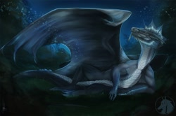 Size: 1280x851 | Tagged: source needed, useless source url, safe, artist:ivenvorry, western dragon, color:blue, forest, night, solo, stars