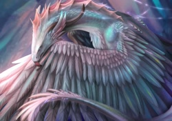 Size: 1920x1358 | Tagged: safe, artist:atharea, western dragon, color:white, feathered wings, kissing, solo