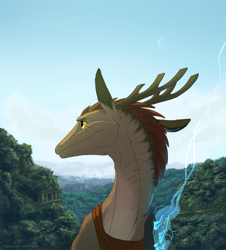 Size: 1024x1133 | Tagged: source needed, useless source url, safe, artist:draktau, western dragon, color:bronze, forest, mountain, solo
