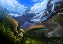 Size: 1280x889 | Tagged: source needed, useless source url, safe, artist:deviantsoulmates, western dragon, color:bronze, forest, mountain, sky