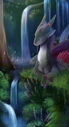 Size: 698x1280 | Tagged: source needed, useless source url, safe, artist:deviantsoulmates, western dragon, color:silver, feathered wings, forest, sea, solo
