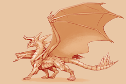 Size: 1200x800 | Tagged: source needed, useless source url, safe, artist:nitrods, western dragon, color:bronze, solo