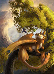 Size: 945x1280 | Tagged: source needed, useless source url, safe, artist:solena, western dragon, cloud, color:bronze, forest, sky, solo