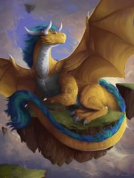Size: 900x1200 | Tagged: source needed, useless source url, safe, artist:deriaz, western dragon, cloud, color:bronze, mountain, sky, solo