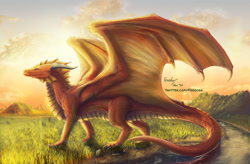 Size: 1280x840 | Tagged: source needed, useless source url, safe, artist:ian-arega, western dragon, color:bronze, forest, sea, solo
