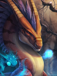 Size: 900x1200 | Tagged: source needed, useless source url, safe, artist:celrasa, western dragon, color:bronze, fire, forest, night, solo