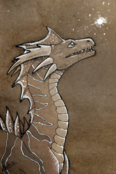 Size: 854x1280 | Tagged: source needed, useless source url, safe, artist:myrkvidr, western dragon, color:bronze, solo, stars