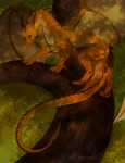 Size: 978x1280 | Tagged: source needed, useless source url, safe, artist:wrappedvi, western dragon, color:bronze, male