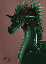 Size: 580x800 | Tagged: source needed, useless source url, safe, artist:zirc, western dragon, color:green, solo