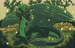 Size: 1117x724 | Tagged: source needed, useless source url, safe, artist:zirc, western dragon, color:green, feathered wings, forest, solo