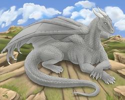 Size: 1000x800 | Tagged: source needed, useless source url, safe, artist:zirc, western dragon, color:white, mountain, solo