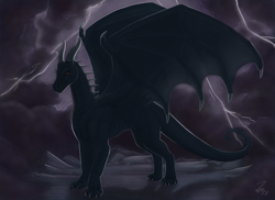 Size: 1100x800 | Tagged: source needed, useless source url, safe, artist:zirc, western dragon, color:black, mountain, night, solo