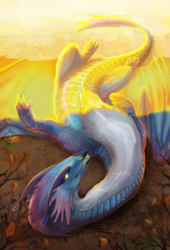 Size: 1500x2200 | Tagged: source needed, useless source url, safe, artist:krystelan, western dragon, color:blue, female