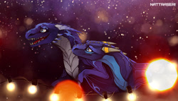 Size: 2241x1282 | Tagged: source needed, useless source url, safe, artist:nattraseri, western dragon, color:blue, hug