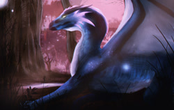 Size: 1280x809 | Tagged: source needed, useless source url, safe, artist:purpleglock-18, western dragon, color:blue, solo