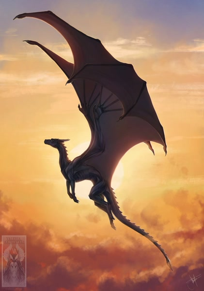 Size: 1280x1823 | Tagged: safe, artist:valeriaakiramenai, western dragon, cloud, color:black, featured image, flying, large wings, sky, solo, sun