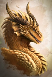 Size: 863x1280 | Tagged: source needed, useless source url, safe, artist:ian-arega, western dragon, color:green, color:bronze, solo