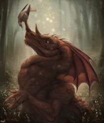 Size: 1081x1280 | Tagged: source needed, useless source url, safe, artist:amira.the.drake, western dragon, color:bronze, forest, night, solo