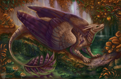 Size: 1280x833 | Tagged: source needed, useless source url, safe, artist:flashlioness, western dragon, color:bronze, feathered wings, forest, fur, furry, river, solo