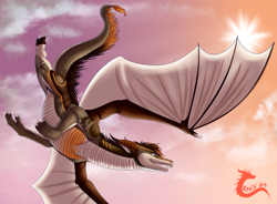 Size: 1300x956 | Tagged: source needed, useless source url, safe, artist:reddragon, western dragon, cloud, color:bronze, flying, multicolor:white, sky, solo