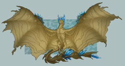 Size: 1278x680 | Tagged: source needed, useless source url, safe, artist:volvokun, western dragon, color:blue, color:bronze, solo