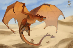 Size: 1280x853 | Tagged: source needed, useless source url, safe, artist:godzi, artist:godzi15, western dragon, wyvern, color:bronze, mountain, solo