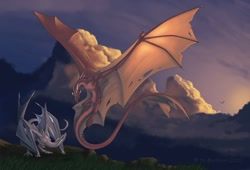 Size: 1280x871 | Tagged: source needed, useless source url, suggestive, artist:mythori, western dragon, color:white, cloud, color:bronze, flying, male, mountain, sky