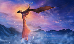 Size: 1700x1002 | Tagged: source needed, useless source url, safe, artist:leilryu, western dragon, anthro, cloud, color:bronze, flying, mountain, sky, solo, tail fluff