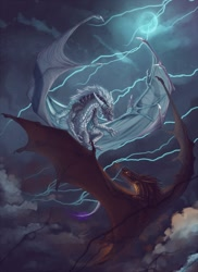 Size: 931x1280 | Tagged: source needed, useless source url, safe, artist:mirych, western dragon, color:silver, cloud, color:bronze, fire, flying, mane, sky