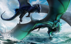 Size: 1280x785 | Tagged: source needed, useless source url, safe, artist:ginkgo., western dragon, color:green, male, multicolor:black, multicolor:blue, sea, spread wings