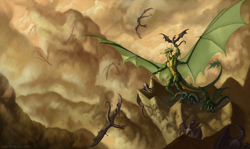 Size: 1600x956 | Tagged: source needed, useless source url, safe, artist:valentinapaz, western dragon, color:green, anthro, cloud, color:bronze, group, mountain, sky
