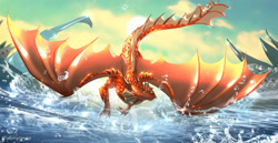 Size: 1280x658 | Tagged: source needed, useless source url, safe, artist:telleryspyrogtx, western dragon, cloud, color:bronze, flying, mountain, sea, sky, solo