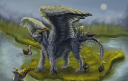 Size: 3751x2391 | Tagged: source needed, useless source url, safe, artist:jackie19, western dragon, color:grey, feathered wings, forest, fur, solo, spread wings, tail fluff