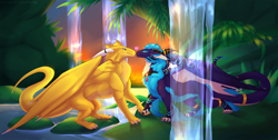 Size: 1280x646 | Tagged: source needed, useless source url, safe, artist:sugar.rush, western dragon, color:golden, female, male, multicolor:purple