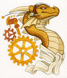 Size: 703x819 | Tagged: artist needed, source needed, safe, western dragon, color:golden, color:yellow, multicolor:yellow, multiсolor:bronze, portrait, solo, traditional art