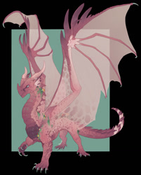 Size: 1027x1280 | Tagged: source needed, useless source url, safe, artist:machati-sama, western dragon, color:other, solo, spread wings