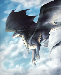 Size: 809x988 | Tagged: source needed, useless source url, safe, artist:raverdragon93, western dragon, cloud, color:other, flying, male, sky, solo, spread wings