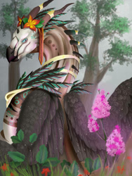 Size: 774x1032 | Tagged: source needed, useless source url, safe, artist:kazarka9, western dragon, color:bronze, feathered wings, flower, forest, furry, multicolor:black, solo