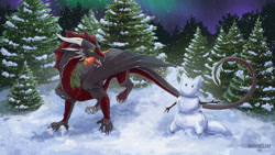 Size: 1280x720 | Tagged: source needed, useless source url, safe, artist:dragonislera, western dragon, color:black, feathered wings, forest, furry, multicolor:red, night, solo, space, stars, winter
