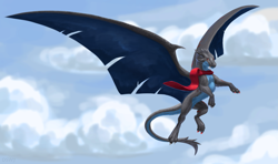 Size: 3041x1800 | Tagged: source needed, useless source url, safe, artist:dsw7, western dragon, color:blue, clothes, cloud, flying, multicolor:grey, sky, solo, tail fluff